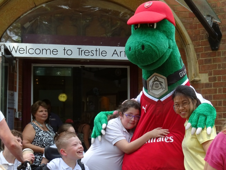 Gunnersaurus meets our Young People at the Theatre